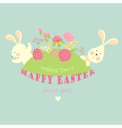 Easter bunnies with flowers vector