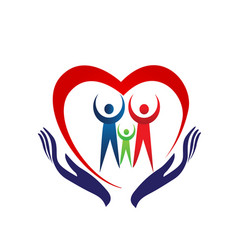 family heart holding hands icon vector image