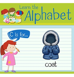 Flashcard alphabet C is for coat vector image