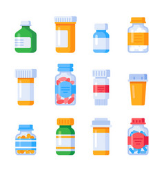 flat medicine bottles vitamin bottle with vector image