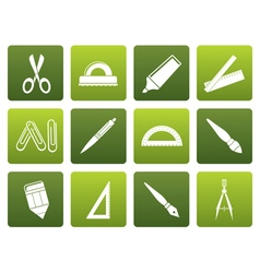 Flat school and office tools icons vector image