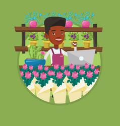 florist at flower shop vector image