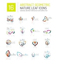 Geometric leaf icon set vector