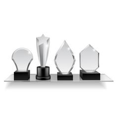 Glass champion prizes on shelf realistic vector