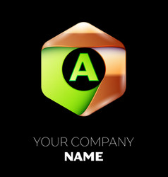 green letter a logo in the golden-green hexagonal vector image