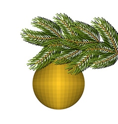 Green lush spruce and gold ball ornament for vector image