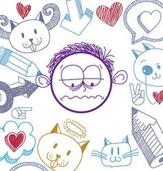 hand drawn cartoon sad boy Education theme graphic vector image