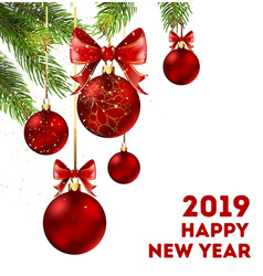 Happy new year 2019 holiday poster with spruce vector