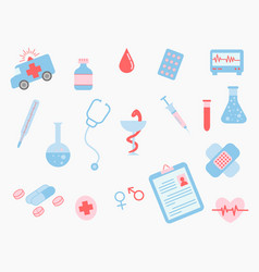 healthcare medical doodle set collection with vector image
