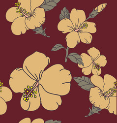 hibicus flowers pattern vector image
