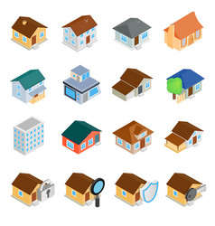 Houses isometric 3d icons set vector