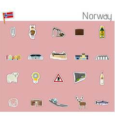 icons of norway vector image