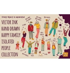 Ink hand drawn family isolated people set vector