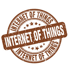 Internet of things brown grunge stamp vector