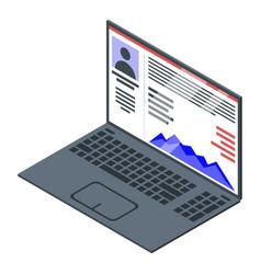 Laptop online reputation icon isometric style vector