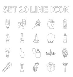 light source outline icons in set collection for vector image