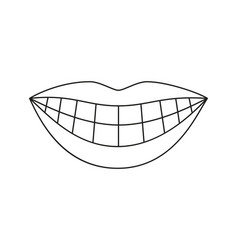 Line art black and white woman healthy smile vector