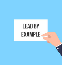 Man showing paper lead by example vector