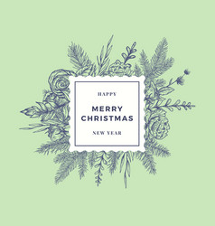 merry christmas abstract botanical card with frame vector image