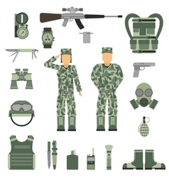Military symbols design with weapon and uniform vector image