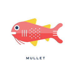 mullet sea fish geometric flat style design vector image