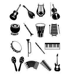 Music instruments icons set vector
