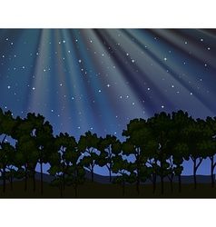 Nature scene with forest at night vector