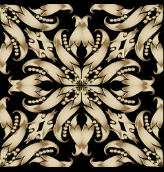 ornate floral baroque 3d seamless pattern vector image