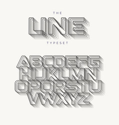 outline modern alphabet line typeset vector image