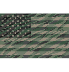 Patriotic jungle green camo usa flag vector