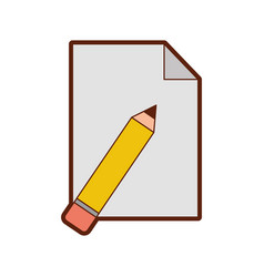 Pencil school with paper isolated icon vector