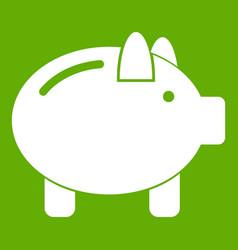 Piggy bank icon green vector
