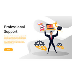 professional business support online web page vector image