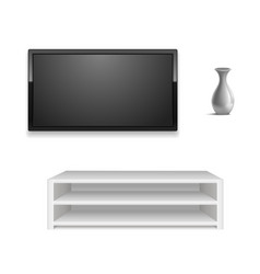 realistic 3d detailed black led tv on white wall vector image