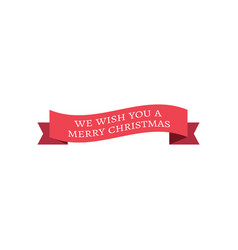 red christmas ribbon banner red christmas ribbon vector image
