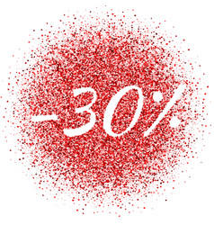 red dust with 30 sign sparkling text vector image