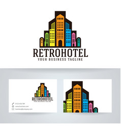 Retro hotel logo design vector