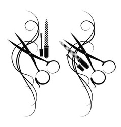 Scissors and hair silhouette vector