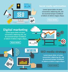 Seo marketing banner horizontal set flat style vector