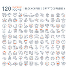 set line icons blockchain and cryptocurrency vector image