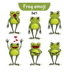 Set of cute frog characters set 1 vector
