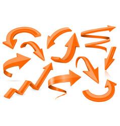set of orange 3d shiny arrows vector image
