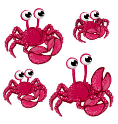 set of red cartoon crabs isolated on white vector image