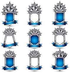 Set of silvery heraldic 3d glossy icons with curvy vector image