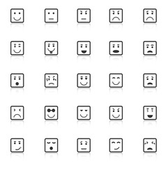 Square face icons with reflect on white background vector image
