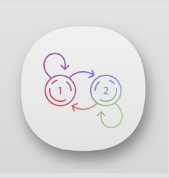 state diagram app icon system behavior object two vector image