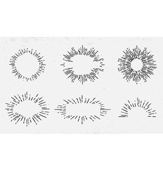 Sun burst vintage shapes collection set sun ray vector