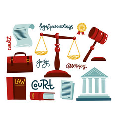 symbols legal regulations juridical icons set vector image