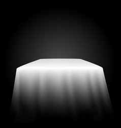 Table with tablecloth on black background vector