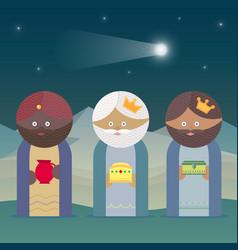 Three magic kings orient cartoons vector